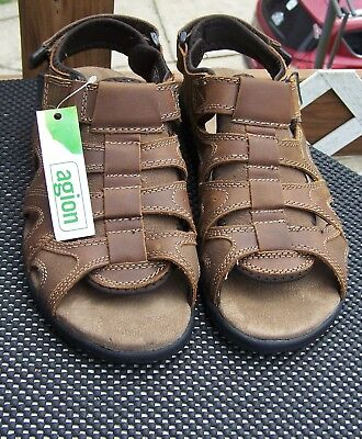 a6a4dca70599 Croft   Barrow Core Technology - Agion Mens Brown Leather Sandals Size ...