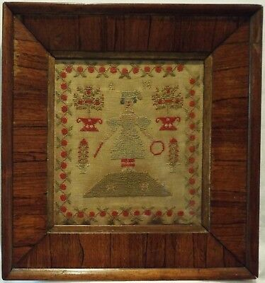 MID 19TH CENTURY NEEDLEPOINT OF A GIRL AND HER DOGS INITIALLED AM - c.1845