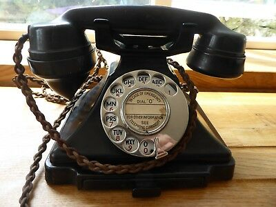 1930s Telephone Bakelite GPO with drawer - dial round 0 for emergency black