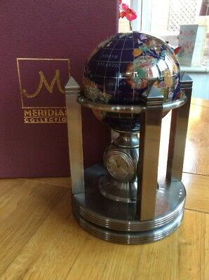 Meridian Collection Blue Lapis Gemstone Globe with Clock & Thermometer Stand