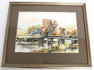 Large Signed Public River Landscape Watercolour Painting In Frame - N10