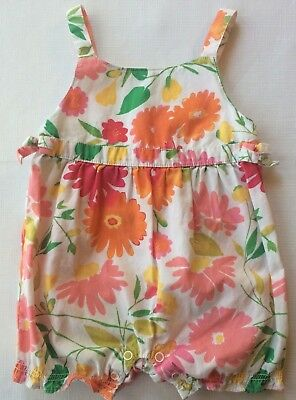 Gymboree Baby Girls 0-3 Month Floral Palette Sleeveless Bubble Romper