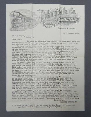 1904 Licking Valley Co. Distillers Letterhead - Covington Kentucky KY