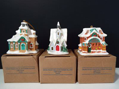 3 Avon SNOW FROST FALL VICTORIAN VILLAGE Cover Ornament CHURCH HOUSE TOY SHOPPE
