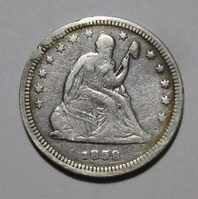 1859 Seated Liberty Quarter - Very Fine Condition Cleaned - 93SU