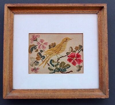 Antique Victorian Petit Point Bird & Flowers In Wood Frame With Provenance
