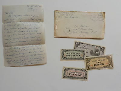 WWII Letter 1945 Japanese Invasion Currency Money Paper Notes Japan VTG NR WW2