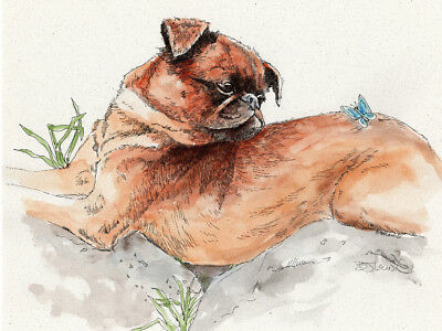 BRUSSELS GRIFFON Original Watercolor on Ink Print Matted 11x14 Ready to Frame