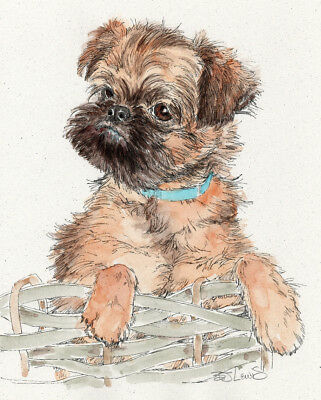 BRUSSELS GRIFFON PUP Original Watercolor on Ink Print Matted 11x14 Ready 2 Frame