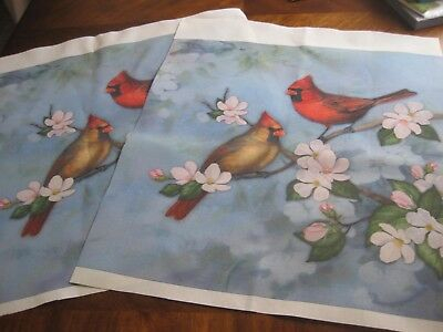 Set of 2 Cardinal Cardinals in Spring Dogwood Blossoms Tree Tapestry Fabric NEW