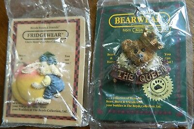 Boyds Bears Set of 2 Cute Pin and Magnet Peach Rabbit Queen NEW in Wrappers WOW
