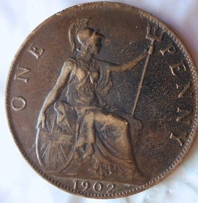 1902 GREAT BRITAIN PENNY - HIGH QUALITY - Great Vintage Coin - LOT #715