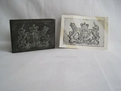 Vintage Bespoke Letterpress Wooden Printing Block of a Royal Coat of Arms
