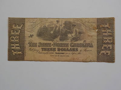 Civil War Confederate 1863 3 Dollar Bill Raleigh North Carolina Paper Money NC