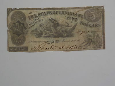 Civil War Confederate 1863 5 Dollar Bill Shreveport Louisiana Paper Money LA Old