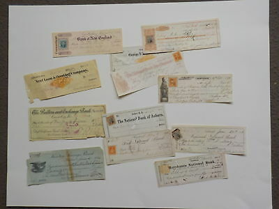 12 Checks 1800s Collection Money Papers Old Lot VTG United States Stamp USA NR