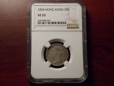 1894 Hong Kong 20 cents silver coin NGC VF-35