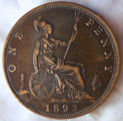 1893 GREAT BRITAIN PENNY - AU HIGH GRADE - Great Vintage Coin - LOT #715