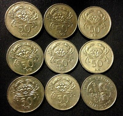 OLD ICELAND COIN LOT - 50 KRONUR - Crab Coin - 9 Coins - Lot #715