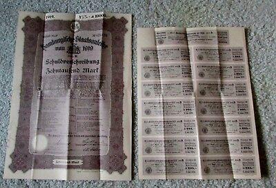 #1 Vintage GERMAN BOND 1919 10,000 Mark Hambergische Staatsanleihe w coupons