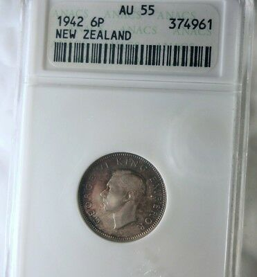 1942 NEW ZEALAND 6 PENCE - KEY DATE - ANACS AU55 - BIG VALUE COIN - Lot #715