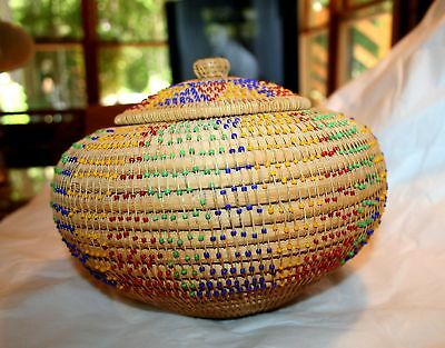 VTG covered NATIVE AMERICAN WILLOW BASKET INDIAN w Intricate GLASS BEADs BEAUTY!
