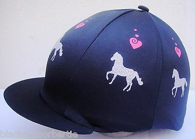 Hat Silk Skull cap Cover BLACK * SILVER GLITTER HORSES PINK HEARTS WithORw/o Pom