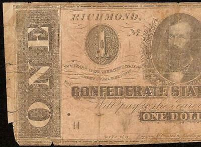 1864 $1 Dollar Bill Confederate States Currency Civil War Note Paper Money T-71