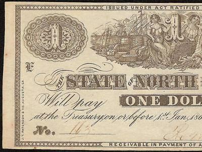 JAN 1st 1863 $1 DOLLAR NORTH CAROLINA NOTE RALEIGH CURRENCY PAPER MONEY UNC