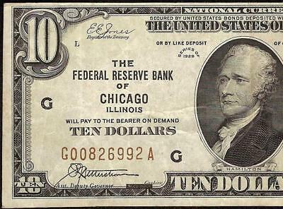 1929 $10 Dollar Bill Brown Seal Bank Note National Currency Old Paper Money