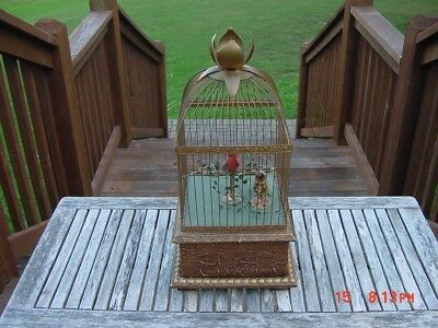 Old Vintage Mechanical Bird Cage West Germany Two Birds Movement