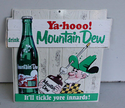 YAHOO Mountain Dew Diecut Sign with Hillbilly & Bottle modern retro