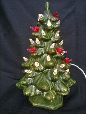 11 vintage small green ceramic light up christmas tree wtiny red white