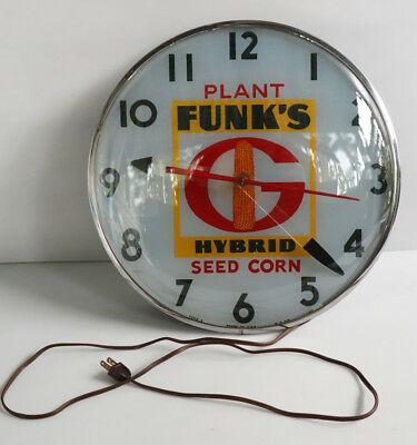 1950s Original FUNKS HYBRID CORN Telechron Clock     Farm Feed Seed Sign pam
