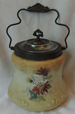 Antique Biscuit or Cracker Jar, Flowers, Embossed Bristol Glass