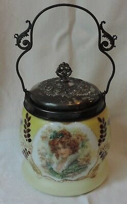 Antique Austria Portrait Biscuit or Cracker Jar, Bristol Glass