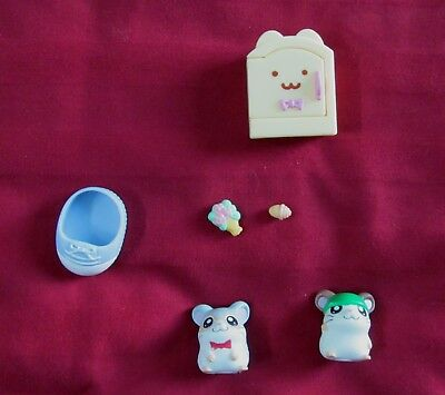Vintage Ham Ham Hamtaro Cappy and Dexter Toy Play Set Hamtaro 2002 Anime