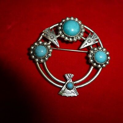 """Exc Ca 1920 Native American Navajo Indian 2 1/2"""" Turquoise / Coin Silver Brooch"""