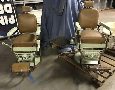 2 Antique Koken barber Chairs Late 30's Early 40's