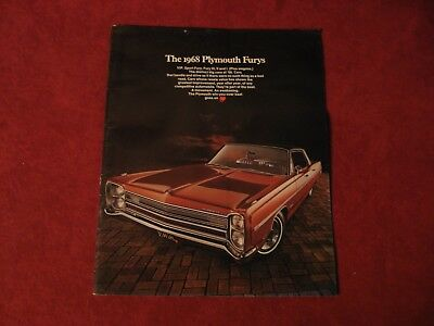 1968 Plymouth Fury Showroom Salesman Dealership Brochure Original Mopar Old