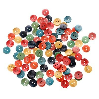 100Pcs Mixed Wood Wooden Buttons 2 Holes 15mm Sewing Scrapbooking DIY Craft