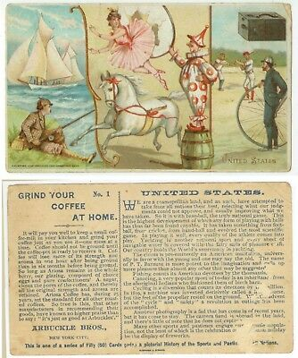 1893 Arbuckle Coffee trade card United States Baseball Circus Photography Bikes