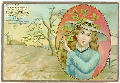 c1880s Murbach & Nelsen Boots Shoes trade card 1194 Milwaukee, Chicago Illinois