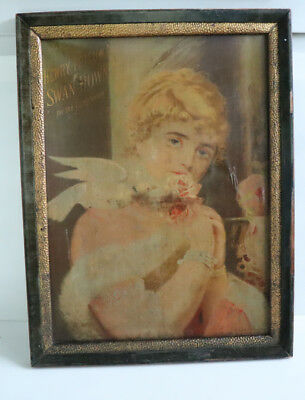 1900's Henry Tetlows SWAN DOWN Litho Canvas Sign Face Powder cosmetic
