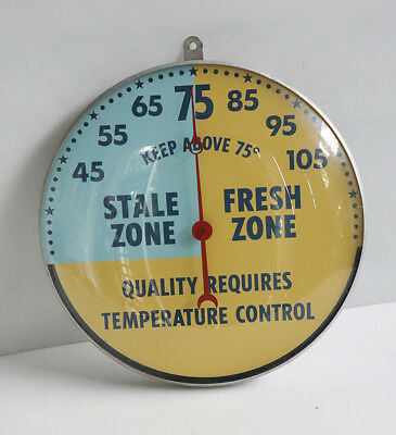 """1960s 12"""" Round Sealed Glass Thermometer EGG or DONUT Bakery pam"""