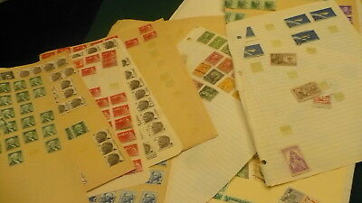 """United States USA random collection postage stamps hinged on paper """"stock book"""""""