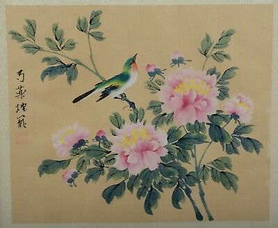 Vintage / Antique Chinese Silk Painting Green Bird with Pink Flowers Signed