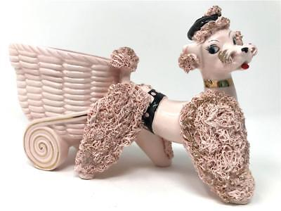 Vintage Pink Spaghetti French Poodle Figurine Cart Planter Paris Shabby Chic Guc