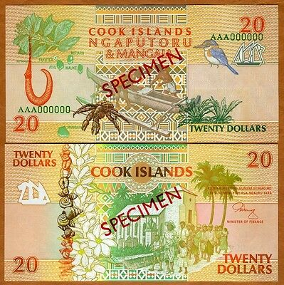 SPECIMEN, Cook Islands, $20, 1992, P-9 (9s) UNC