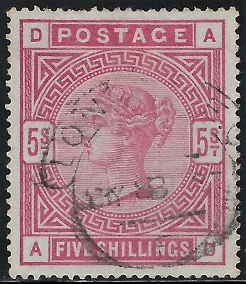 """GREAT BRITAIN 1884 Scts #108, S/G #180, USED  5sh  """"Queen Victoria""""  SUPERB"""